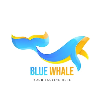 Illustrazione del logo balena colorata
