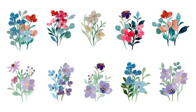Collezione di bouquet floreali selvatici colorati con acquerello