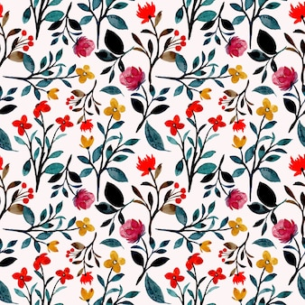Modello senza cuciture dell'acquerello floreale selvaggio colorato