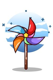 Un colorato mulino a vento giocattolo fumetto illustrazione