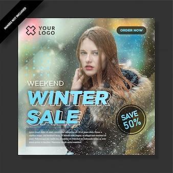 Colorful winter sale square banner social media post