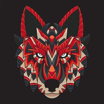 Illustrazione colorata della testa di lupo