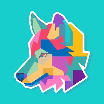 Disegno di ritratto pop art colorato testa di lupo