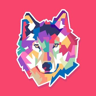 Disegno del ritratto pop art di lupo colorato