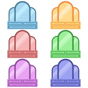 Armadietti in legno colorati con ripiano e specchio per illustrazione piatto asset gioco icona elemento di trucco
