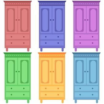 Armadietti in legno colorato con scaffale elemento icona gioco piatto illustrazione asset