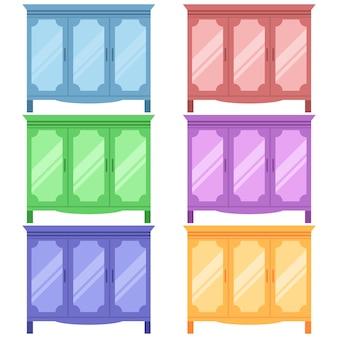 Armadietti in legno colorato con scaffali e specchio icona elemento gioco piatta illustrazione