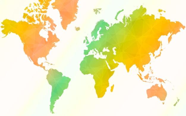 Mappa del mondo colorato. illustrazione vettoriale della mappa del mondo.