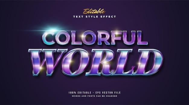 Testo colorato del mondo in gradiente colorato e effetto lucido