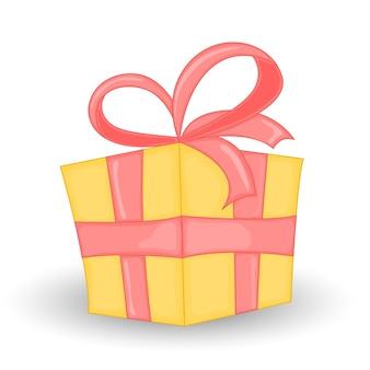 Confezione regalo colorata. bella scatola regalo di natale e capodanno con fiocco travolgente. Vettore Premium