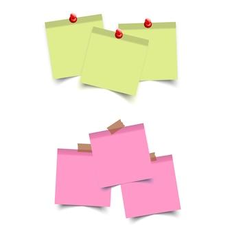 Piazza adesivi colorati. note di promemoria appiccicose