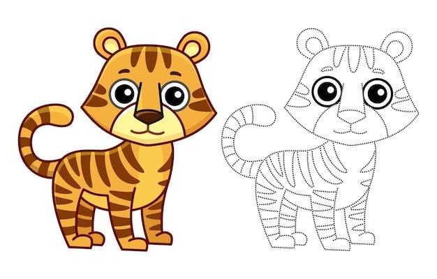Animali da colorare per bambini libro da colorare. tigre divertente in stile cartone animato. traccia i punti e colora l'immagine