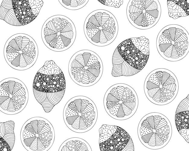 Colorare come set vettoriale senza soluzione di continuità di limoni con vari modelli.