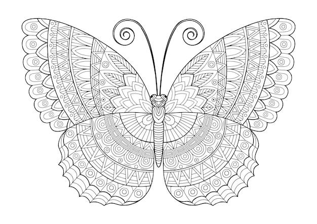 Libro da colorare per adulti. farfalla decorativa di colori vivaci. immagine per la stampa su vestiti, colorazione, sfondi