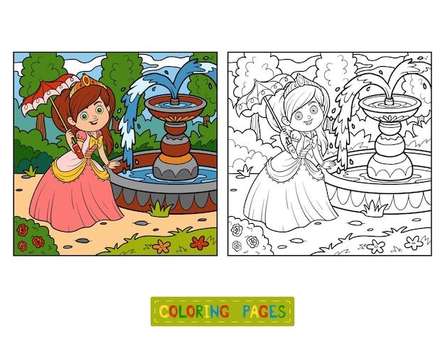 Libro da colorare, personaggio dei cartoni animati, principessa con ombrello