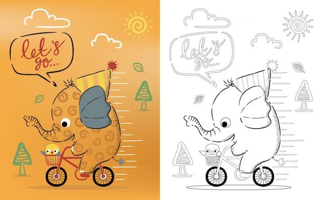 Libro da colorare cartoon di elefante in sella a bici con un uccellino
