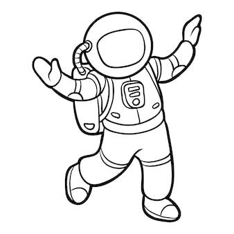 Libro da colorare per bambini, astronauta