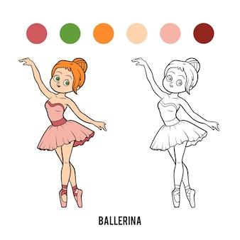 Libro da colorare per bambini, ballerina