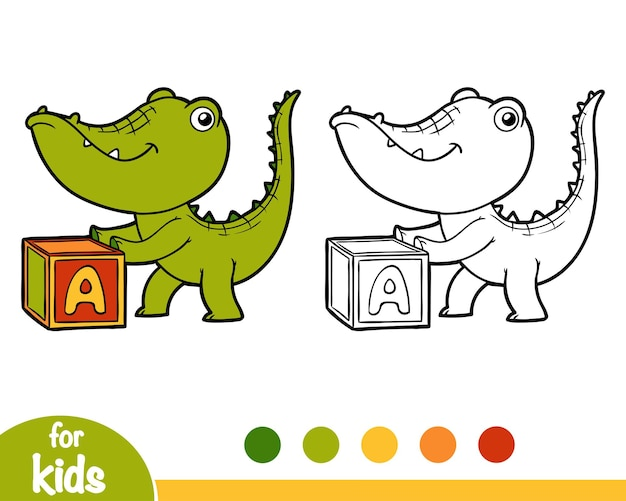 Libro da colorare per bambini, coccodrillo e cubo