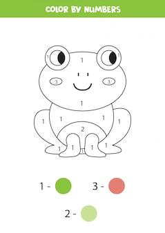 Libro da colorare per bambini. rana simpatico cartone animato.