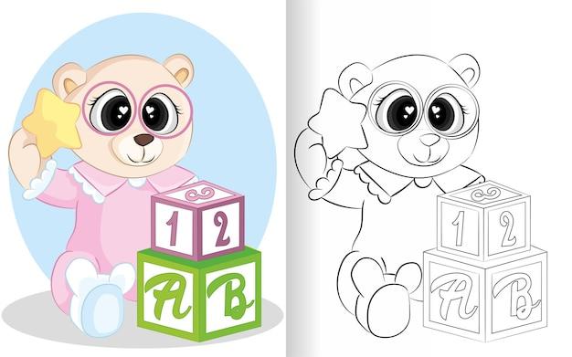 Libro da colorare per bambini. collezione di animali della foresta. orso simpatico cartone animato con pigiama e stella.