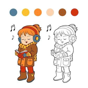 Libro da colorare per bambini, ragazza che canta una canzone di natale