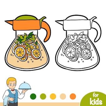 Libro da colorare per bambini, brocca di limonata