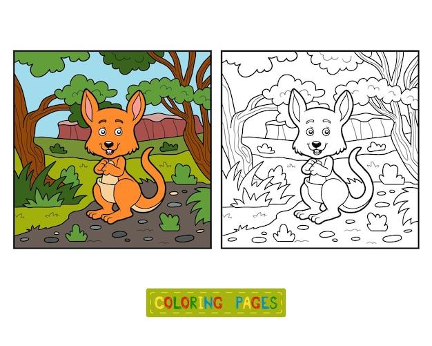 Libro da colorare per bambini, canguro e sfondo