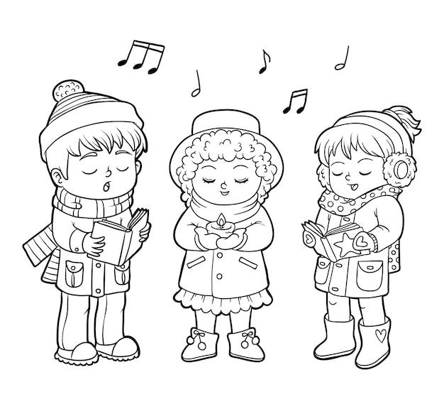 Libro da colorare per bambini, coro di natale per bambini