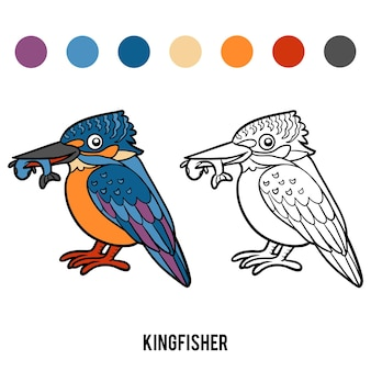 Libro da colorare per bambini, martin pescatore