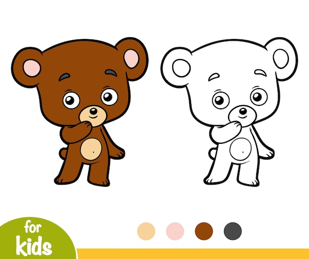 Libro da colorare per bambini, orsetto