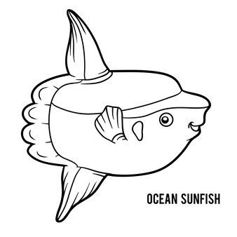 Libro da colorare per bambini, pesce luna dell'oceano