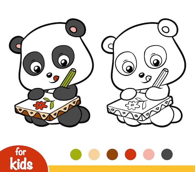 Libro da colorare per bambini, panda