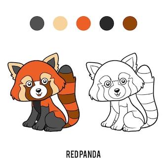 Libro da colorare per bambini, panda rosso