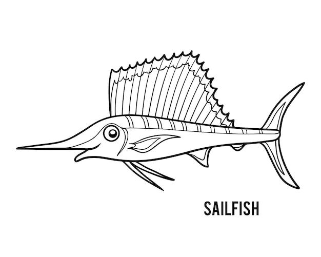 Libro da colorare per bambini, sailfish