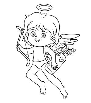 Libro da colorare per bambini, personaggio di san valentino, angelo