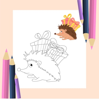 Libro da colorare per bambini in vettoriale. simpatico riccio in stile cartone animato. versioni monocromatiche e colorate. collezione per bambini.