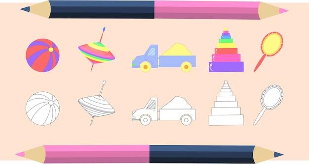 Libro da colorare per bambini in vettoriale. un set di simpatici giocattoli per bambini. versioni monocromatiche e colorate. collezione per bambini.