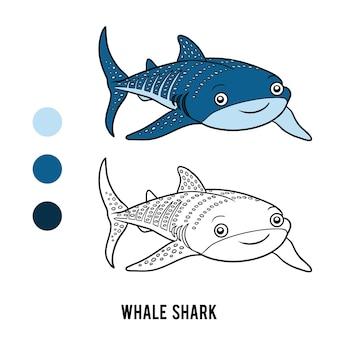Libro da colorare per bambini, squalo balena