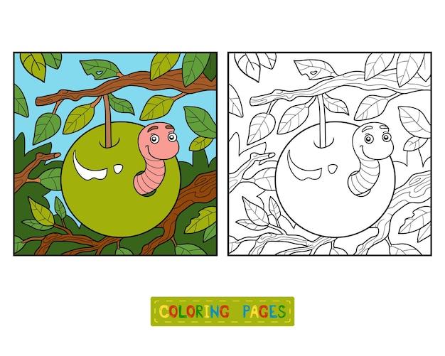 Libro da colorare per bambini, verme nella mela Vettore Premium