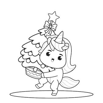 Libro da colorare il giorno di natale con unicorno carino