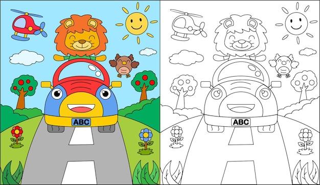 Libro da colorare o pagina da colorare leone cartone animato alla guida di una macchina
