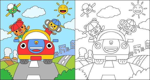 Libro da colorare o pagina da colorare cartone animato tigre e scimmia alla guida di una macchina