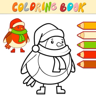 Libro da colorare o pagina da colorare per bambini. natale uccello bianco e nero vector