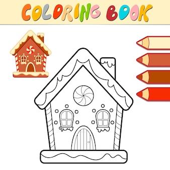 Libro da colorare o pagina da colorare per bambini. illustrazione vettoriale di casa di panpepato di natale in bianco e nero