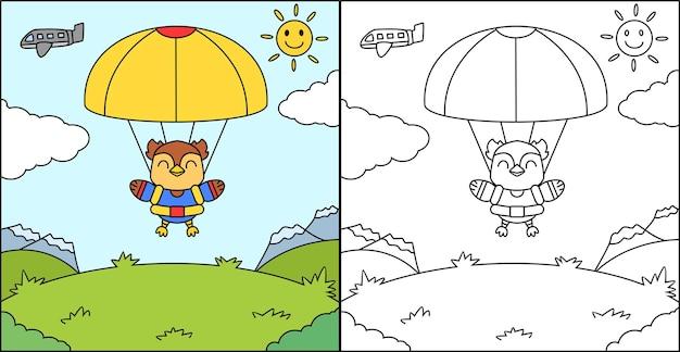 Libro da colorare o pagine da colorare di gufo paracadutista