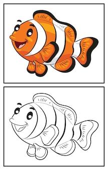 Libro da colorare pesce pagliaccio carino. pagina da colorare e personaggio clipart colorato