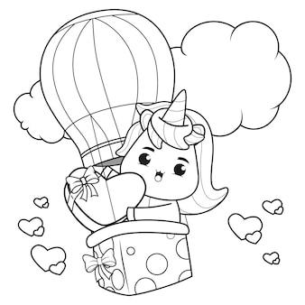 Libro da colorare unicorno carino per l'illustrazione di san valentino