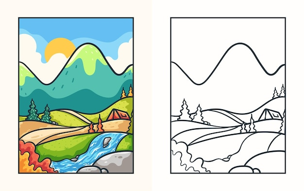 Libro da colorare di illustrazioni di montagne abbaglianti