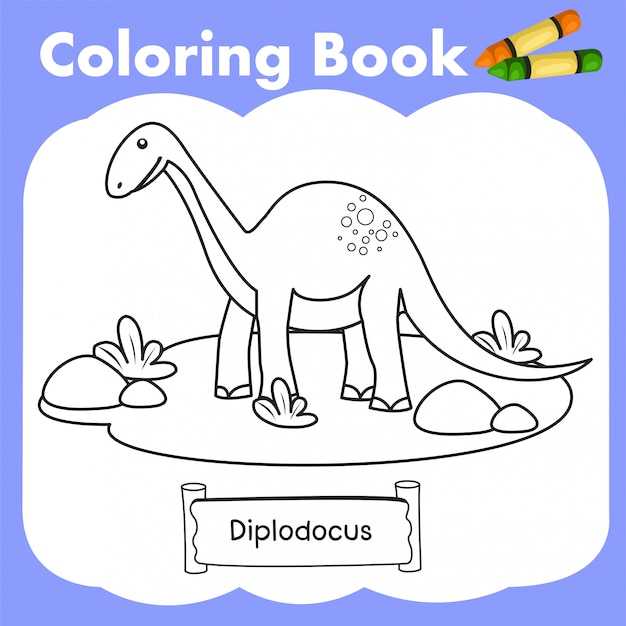 Libro da colorare dinosauro diplodocus